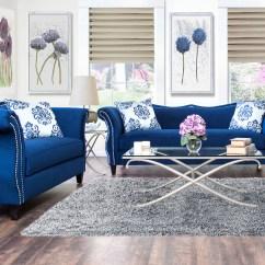 Royal Blue Sofa Fabric Leather Sofas Sarasota Furniture Of America Anita 2 Piece Sweetheart
