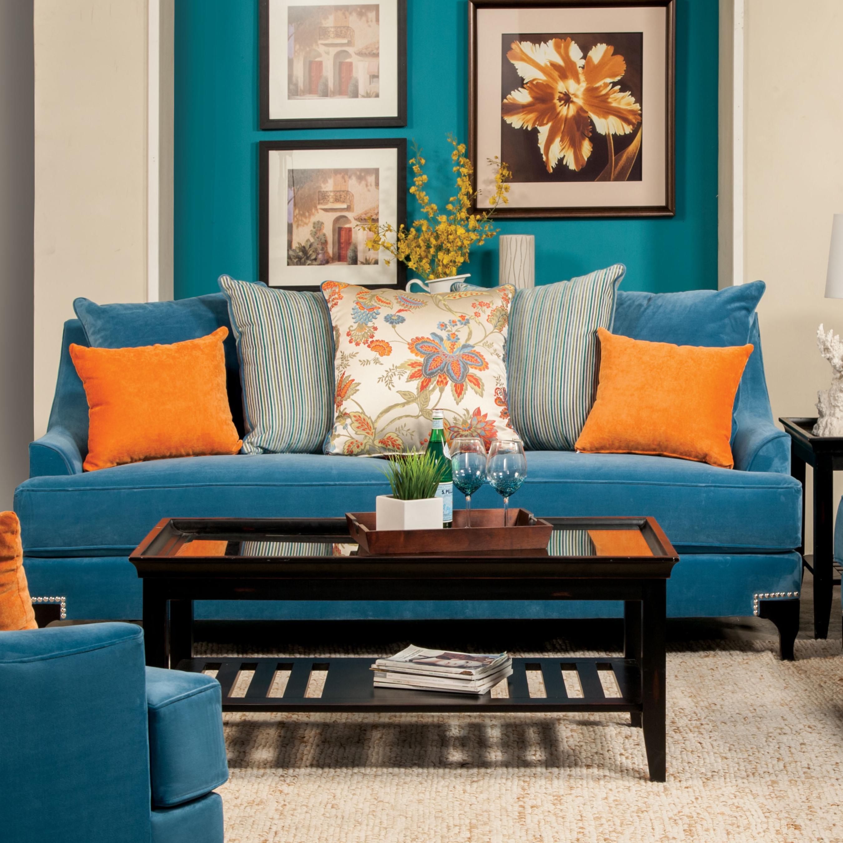 Furniture of America Peacock Blue Neliz Premium Sofa
