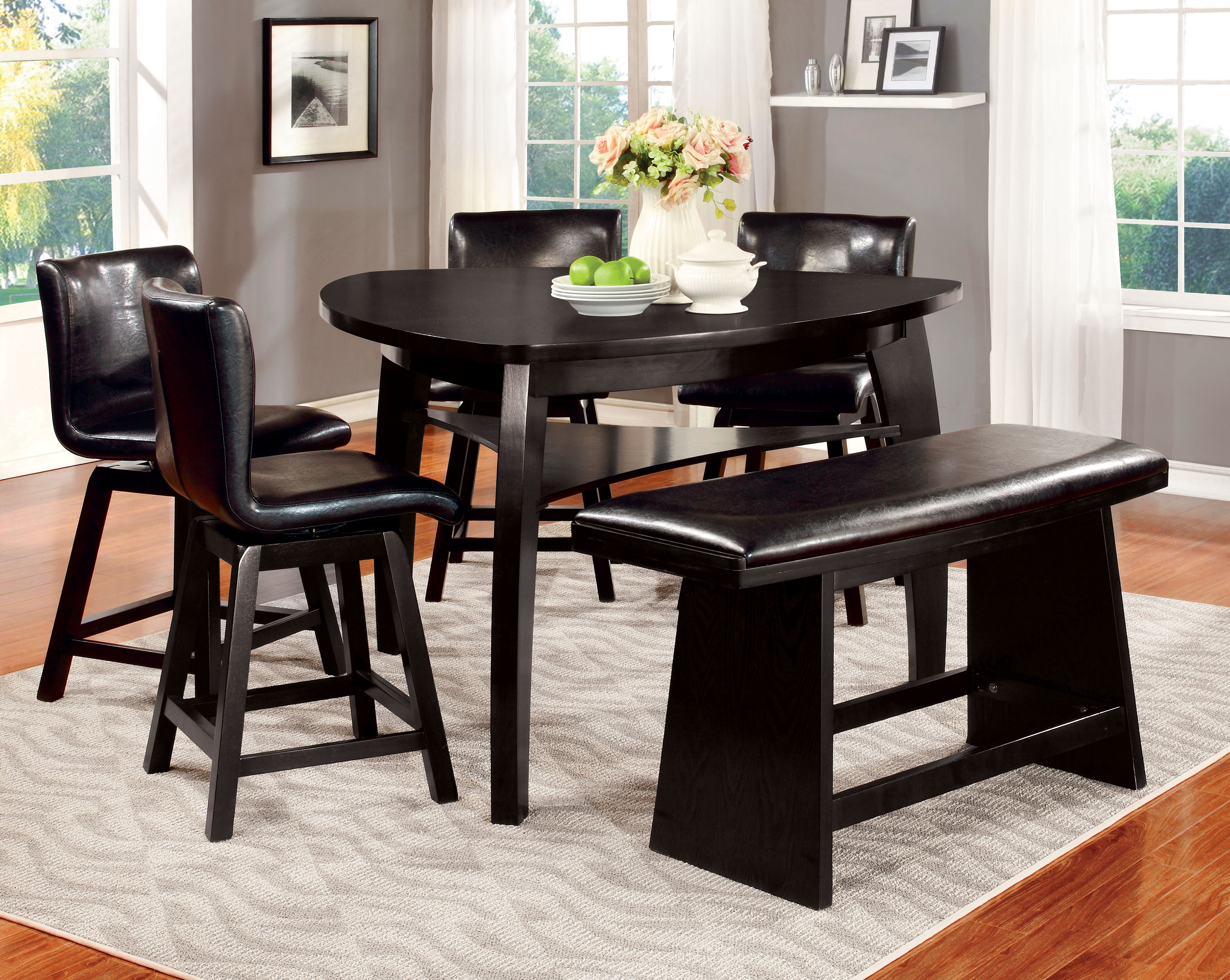 Furniture of America Black Cortell 6Piece Triangular