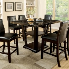 Black Square Pub Table And Chairs Graco Duodiner High Chair Manual Furniture Of America Dark Cherry Finia 7 Piece Counter