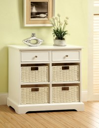 Furniture of America White Mischa Storage Cabinet with Baskets
