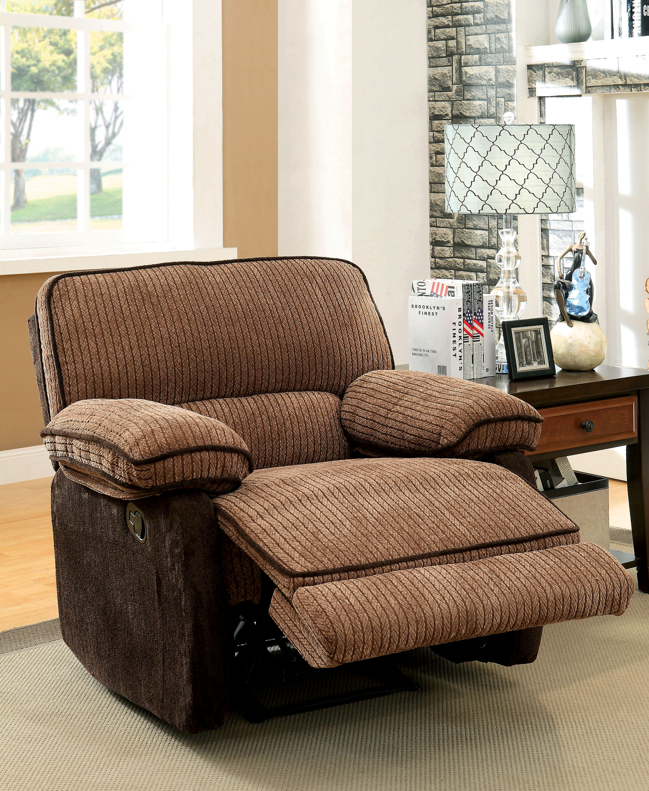 Furniture Of America Two Tone Brown Chenille Recliner