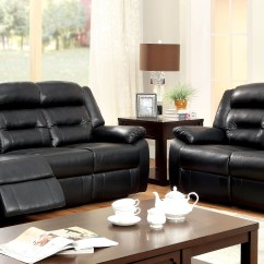Angus Bonded Leather Reclining Sofa Twin Size Sleeper Sofas Furniture Of America Black Katia Recliner