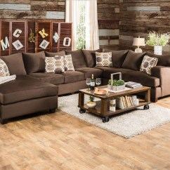 Sectional Sofa Deals Free Shipping Mah Jong Dimensions Furniture Of America Jeeters Brown Fabric U-shaped ...