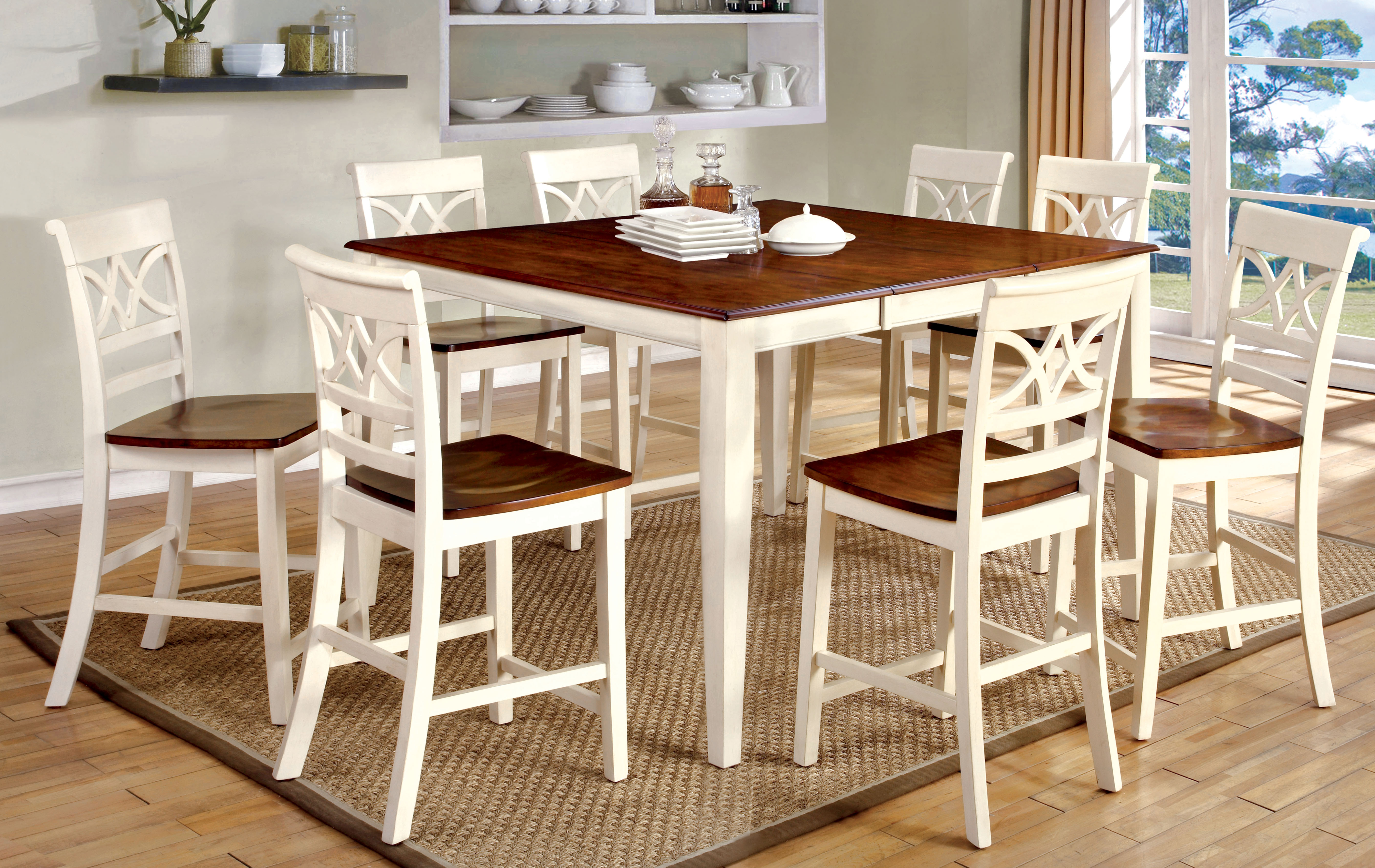 Furniture Of America Vintage White Petronella 9 Piece Counter Height Dining Set