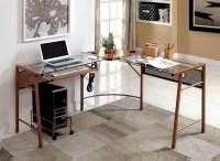 Furniture of America Sarea L-Shaped Glass-Top Rose Gold ...
