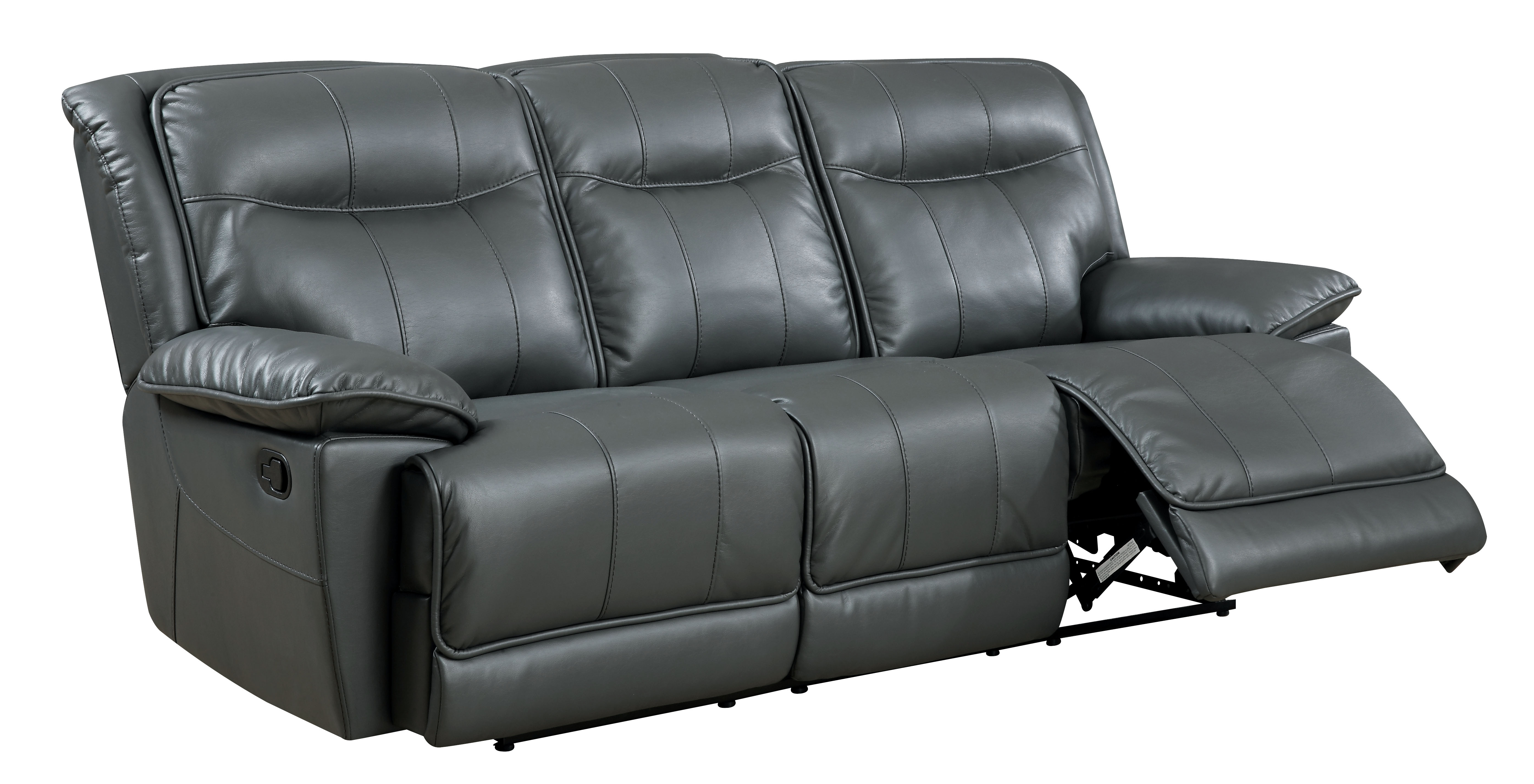 faux leather reclining sofa set sectional with chaise furniture of america fulton gray