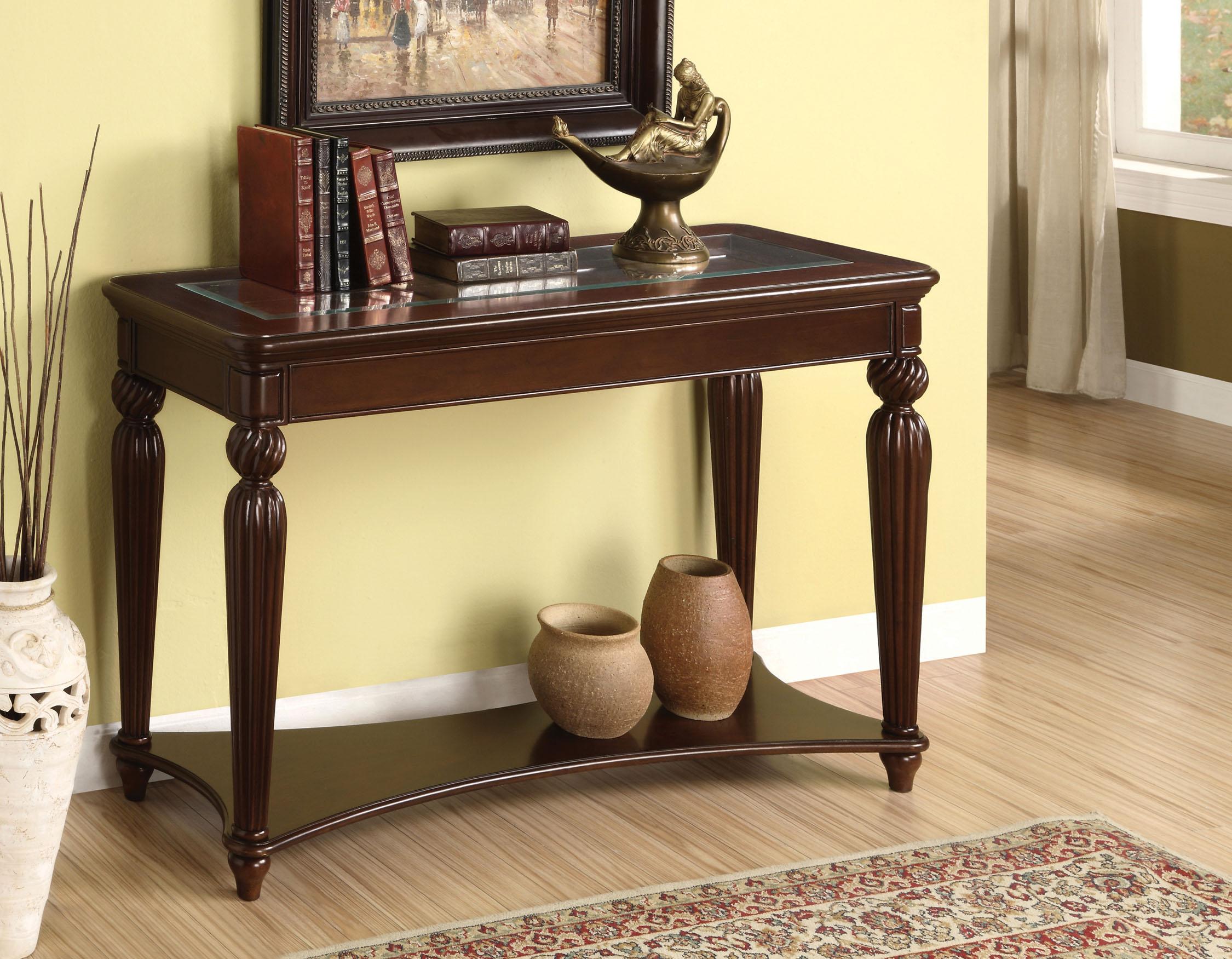 cherry sofa table with storage raft manhattan review furniture of america renetta tempered glass dark