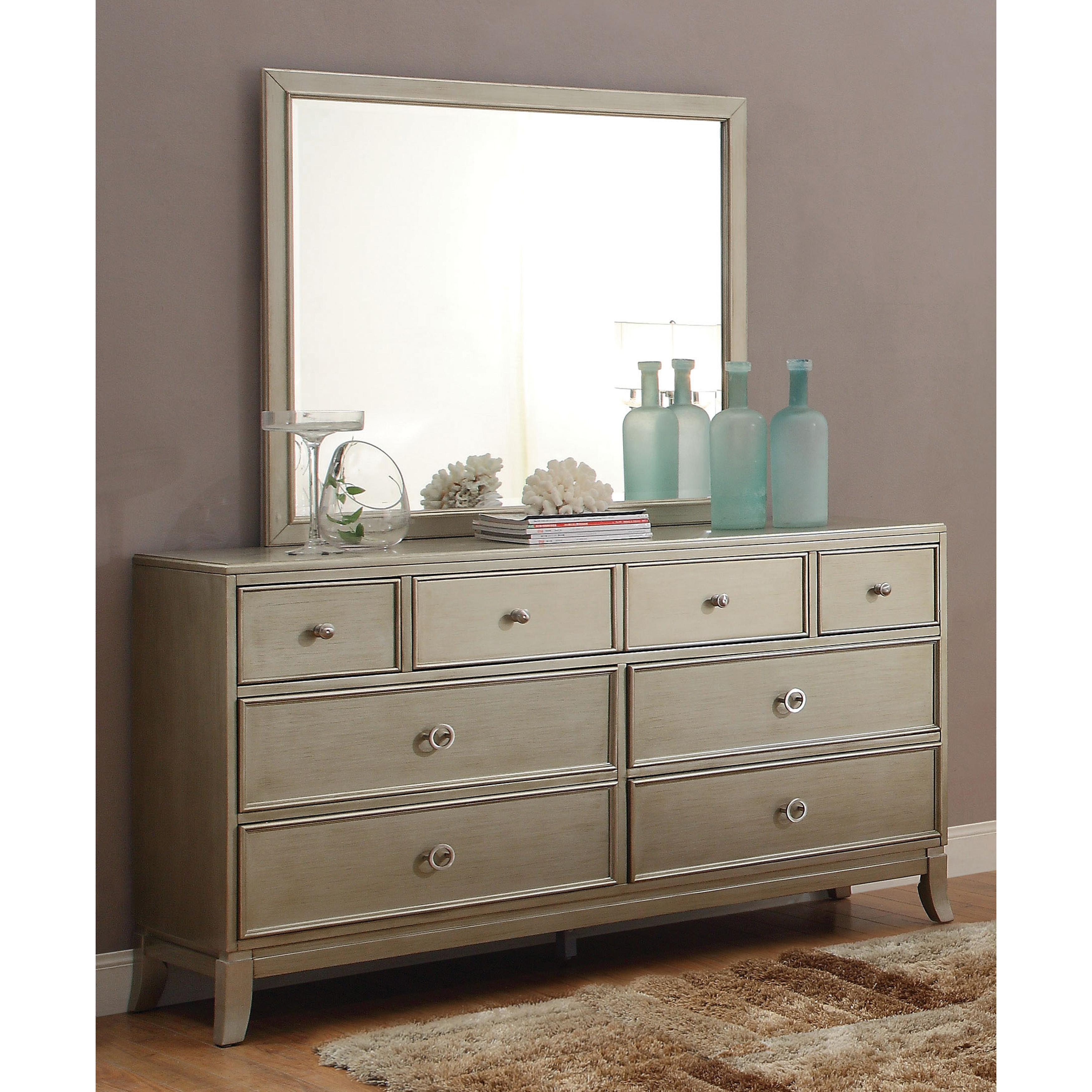 Furniture of America Ideena Silver Gray Finish ORing Handle 8Drawer Dresser