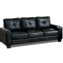 Black Bonded Leather Sofa Cheap Rattan Garden Uk Furniture Of America Boris Modern