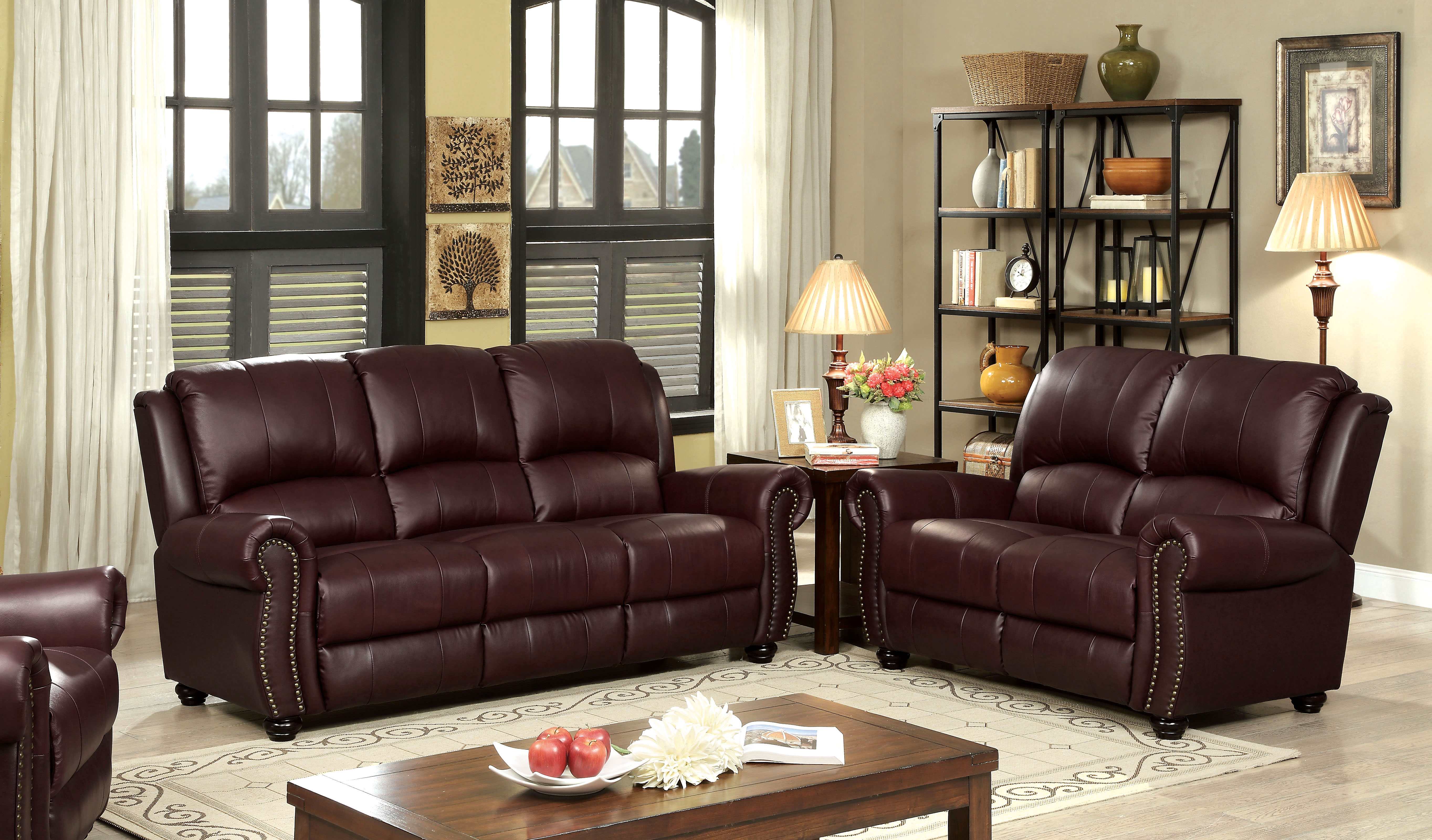 montclair top grain leather sofa and loveseat set how to fix soft cushions furniture of america tad 39s match 2 piece
