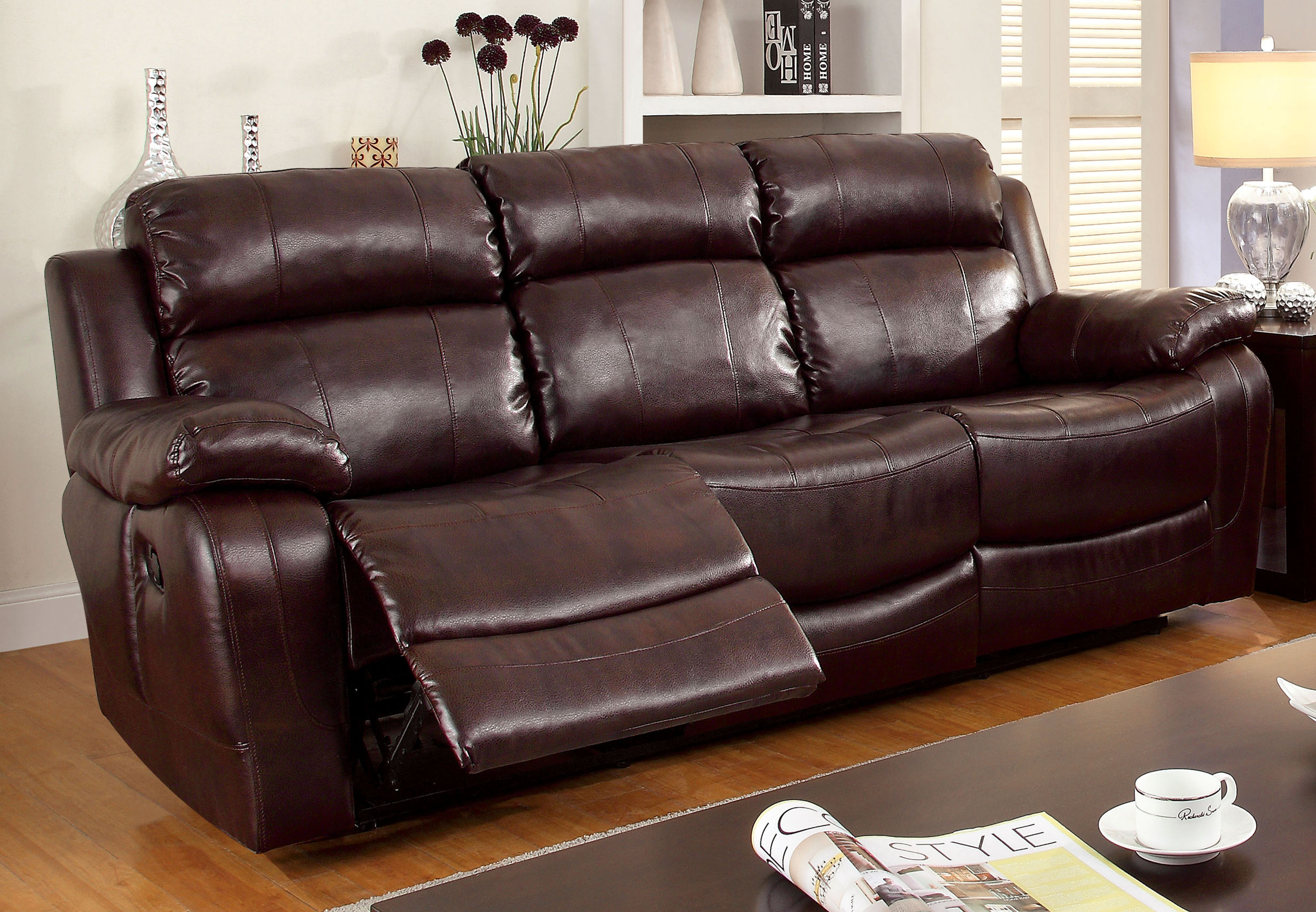 4087 modern bonded leather sectional sofa with recliners fold out bed mechanism furniture of america dark brown grantham reclining