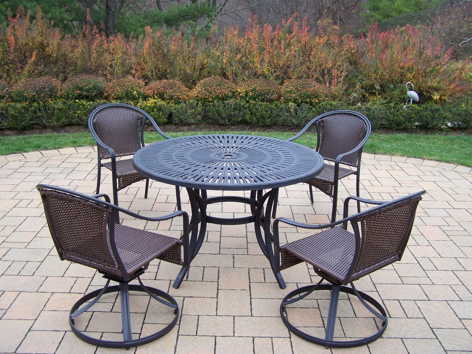 wicker swivel outdoor dining chair pink accent oakland living 5 pc patio set w table