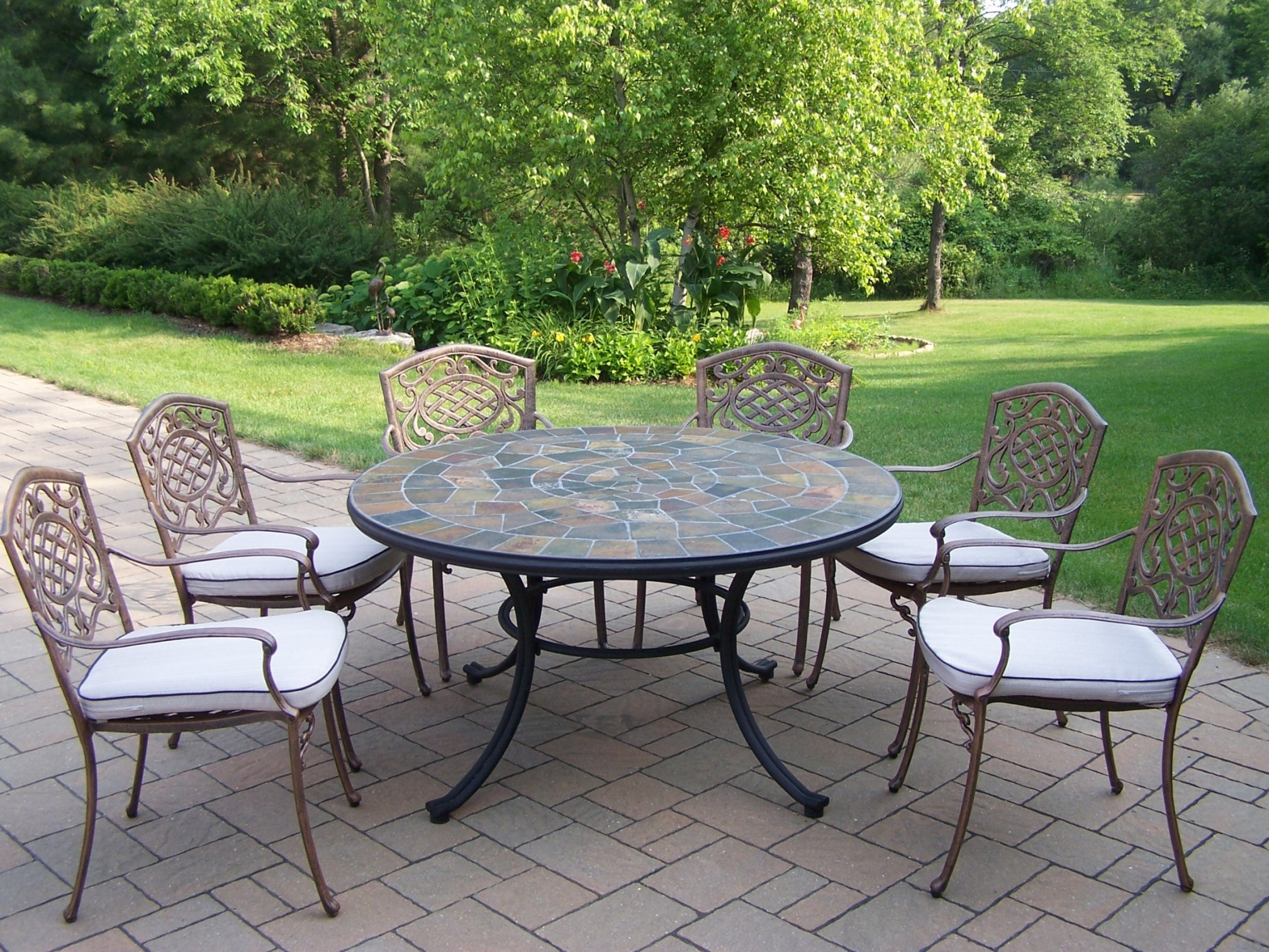 "Oakland Living 7 Pc. Patio Dining Set With 54"" Stone Topped"