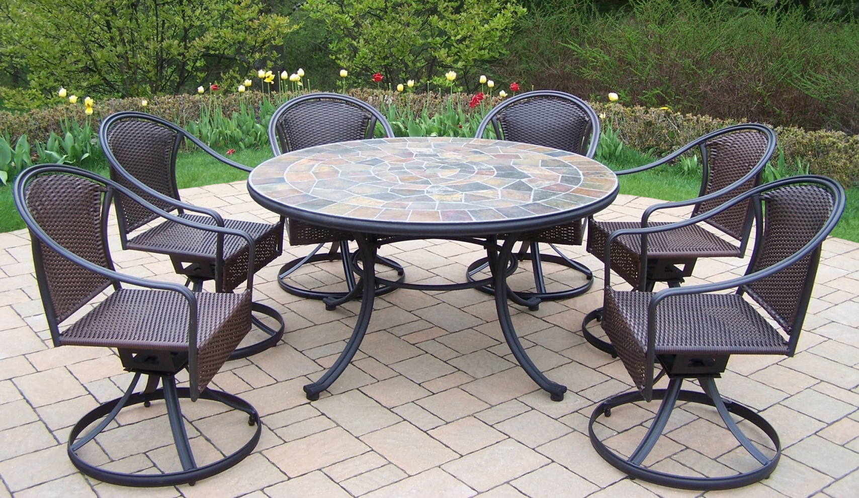 sears patio chair covers kohls gaming oakland living 7 pc dining set w 54 quot stone topped
