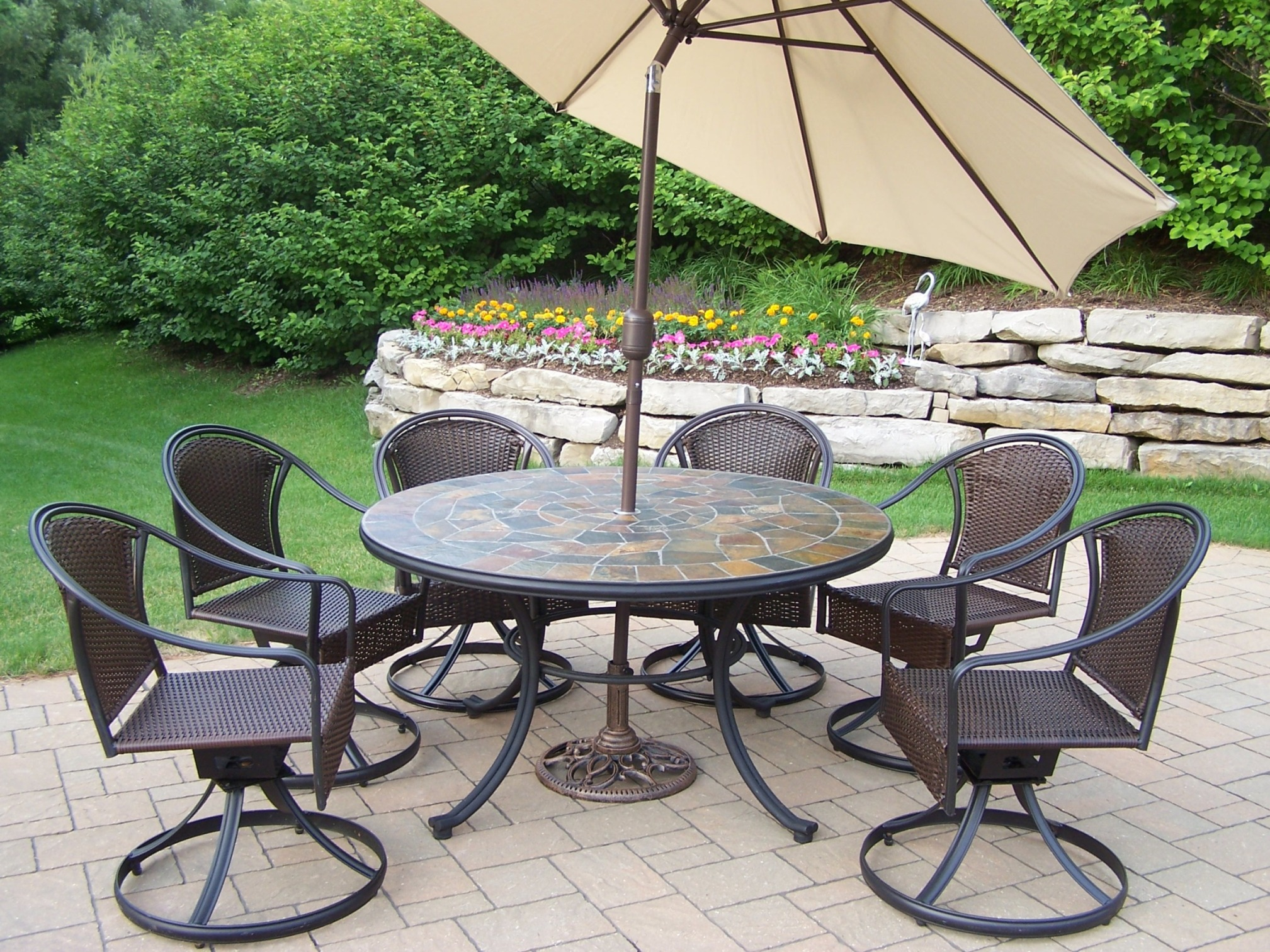 "Oakland Living 9 Pc. Patio Dining Set With 54"" Stone Topped"