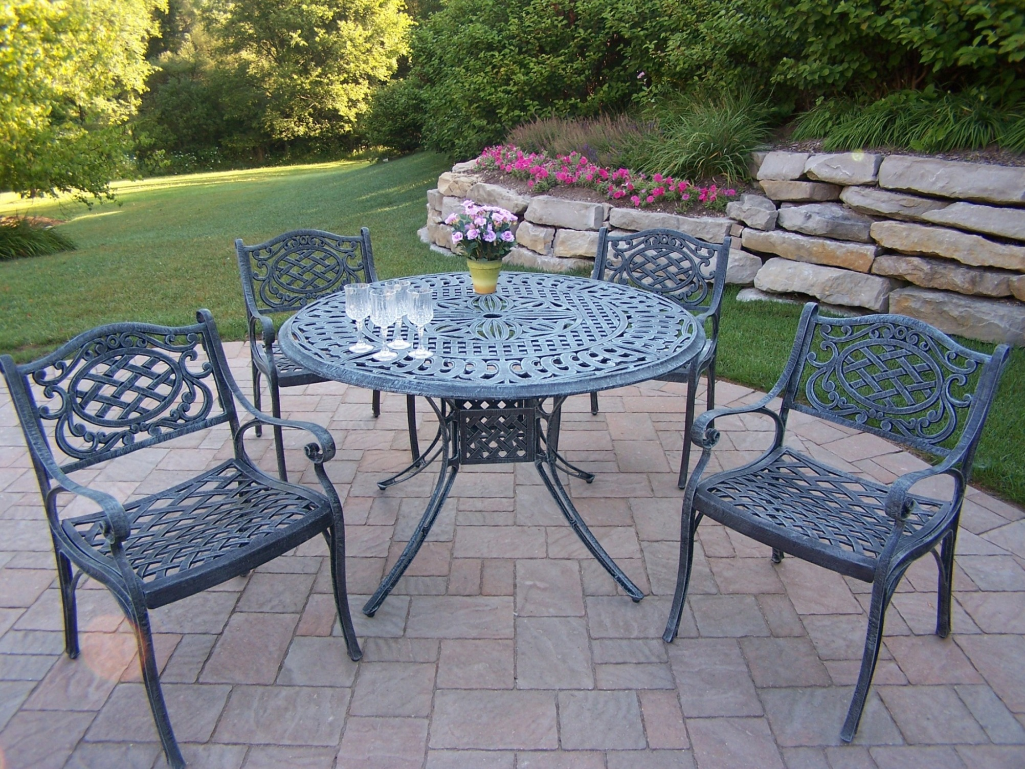Oakland Living Aluminum 5 Pc. Patio Dining Set With 48