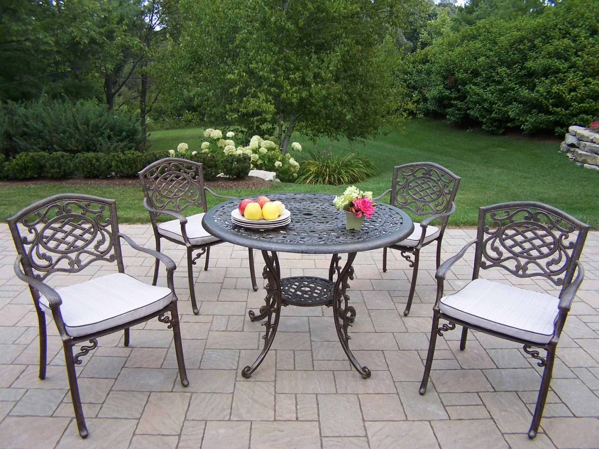 Oakland Living Cast Aluminum 5 Pc. Patio Dining Set With 42