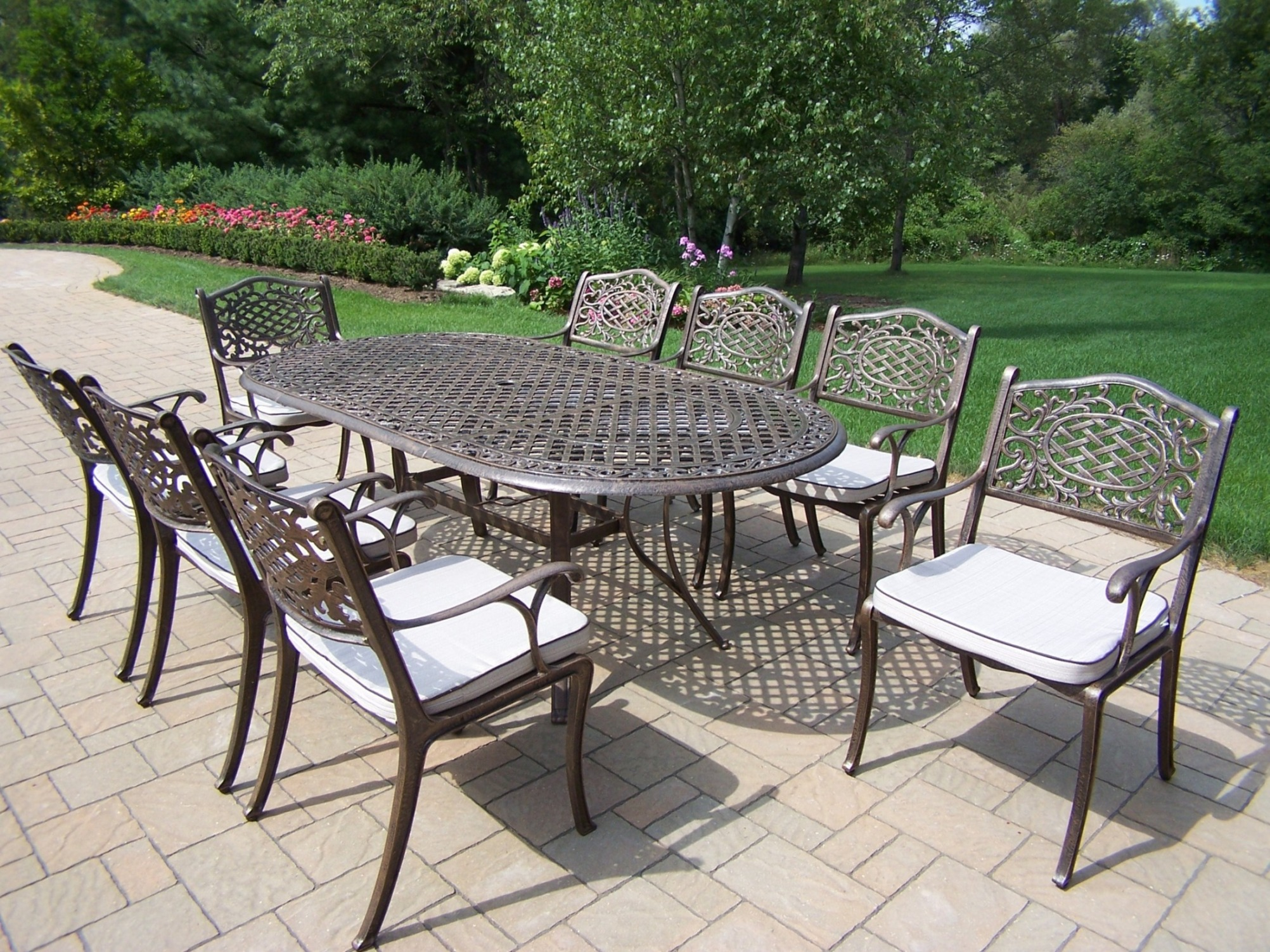 patio chair glides oval cover and sash hire essex oakland living cast aluminum 9 pc dining set w 84