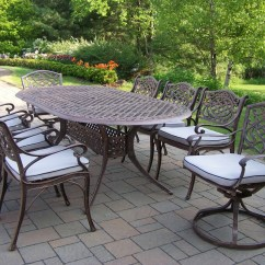 Patio Chair Glides Oval Contemporary Dining Oakland Living Cast Aluminum Set W 84 X 42