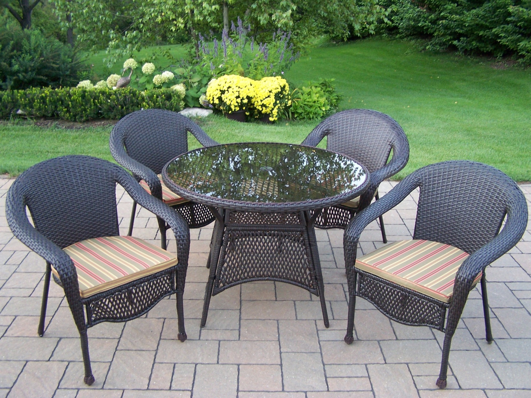 Oakland Living Wicker 5 Pc. Patio Dining Set With 42