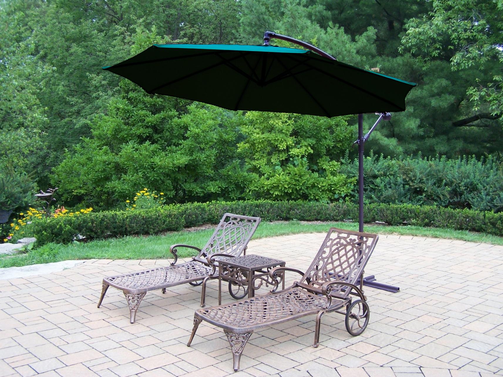 lounge chair umbrella stand steel oakland living cast aluminum set w 2 chaise