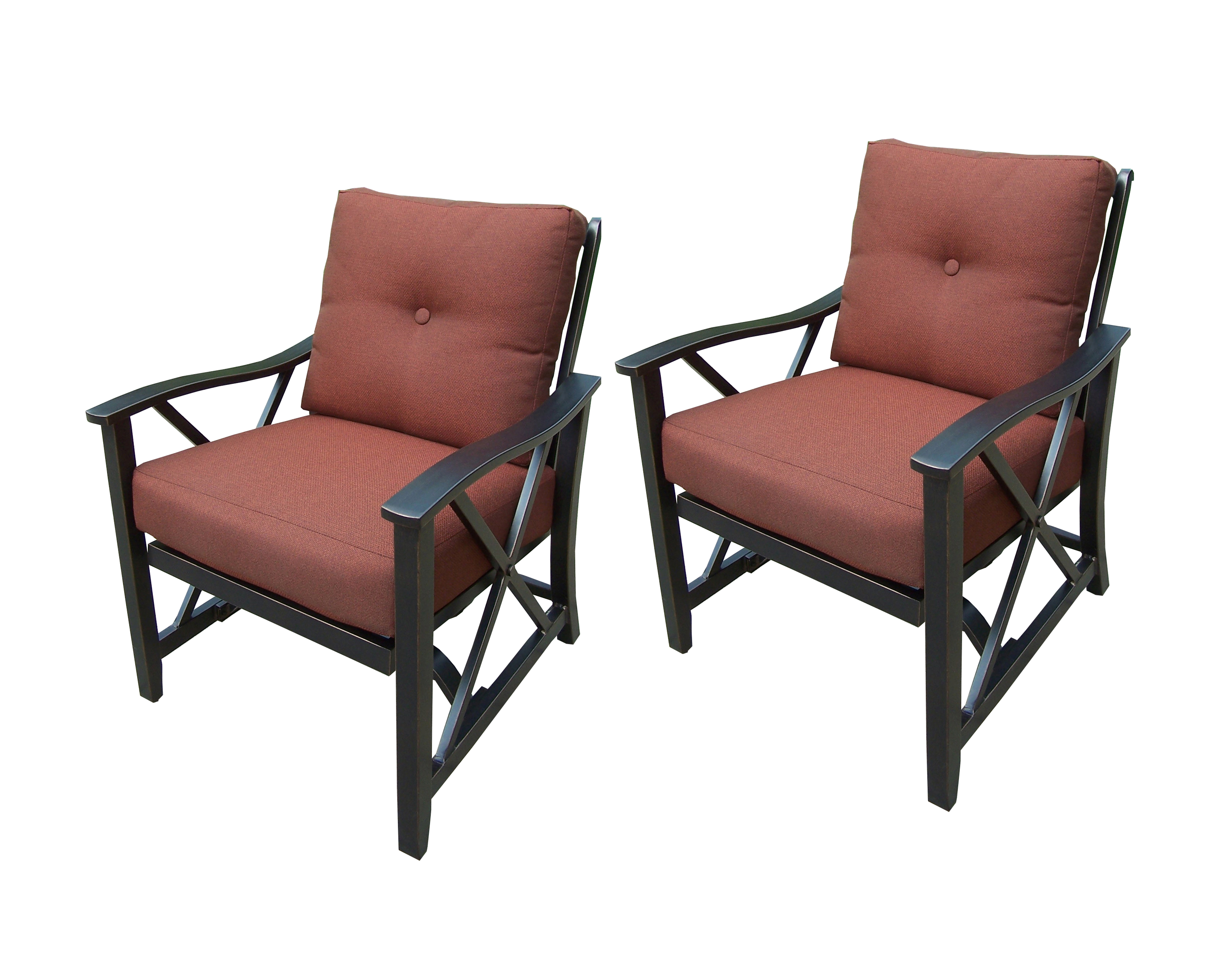 thick chair cushions lowes black outdoor rocking oakland living deep seat aluminum framed chairs w