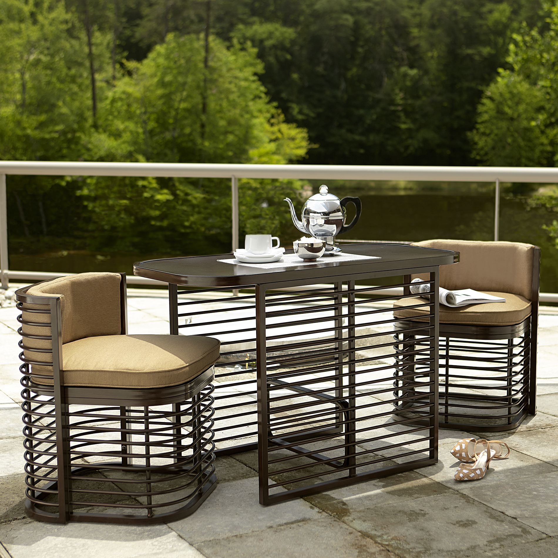 3 piece outdoor table and chairs swing for outdoors grand resort perdido beach nesting bistro set -neutral