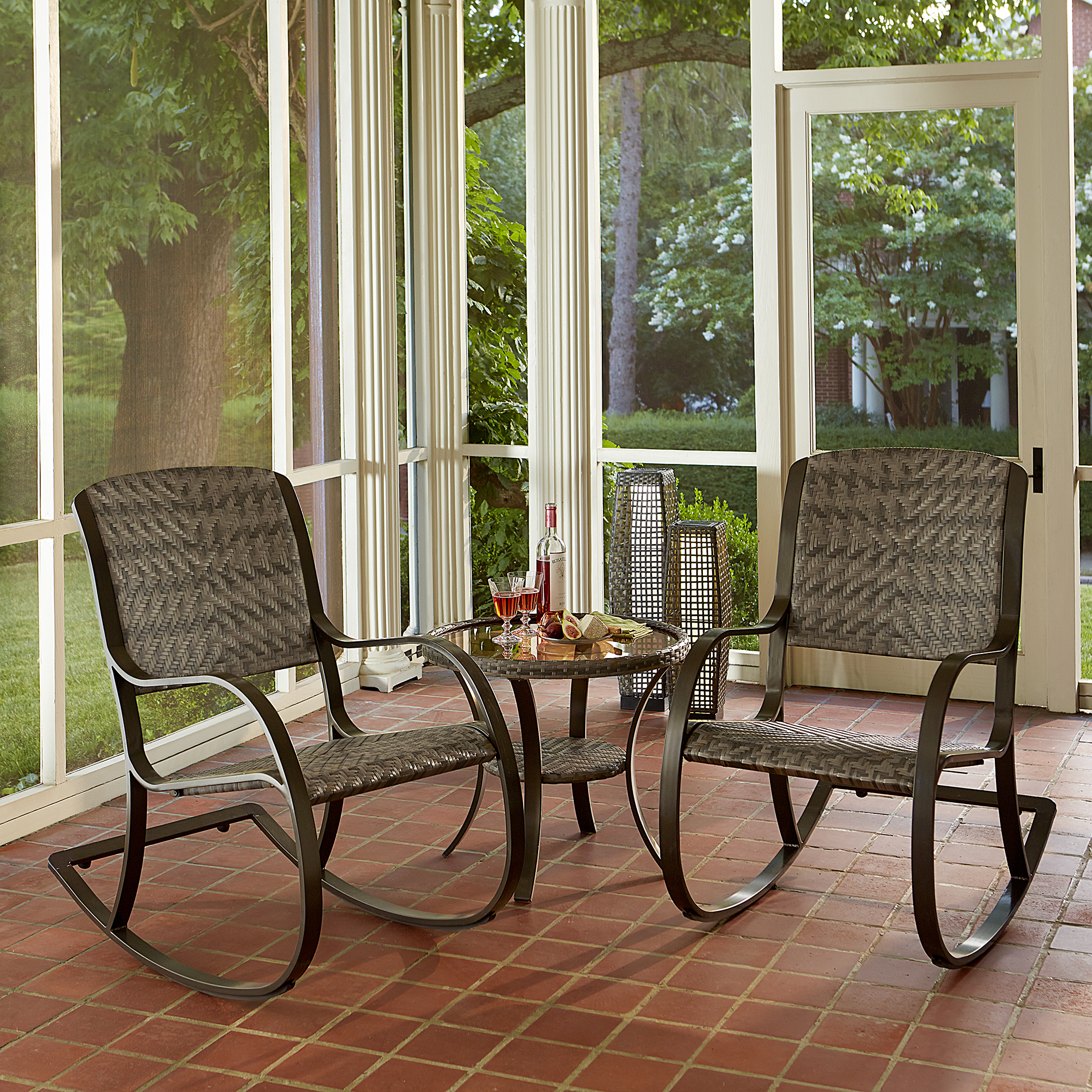 Ty Pennington Style Walnut Grove Rocker 3pc. Bistro Set