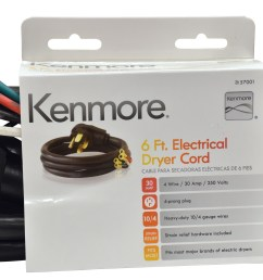 kenmore 99921 57001 4 prong 6 round dryer cord black sears outlet [ 5808 x 3071 Pixel ]