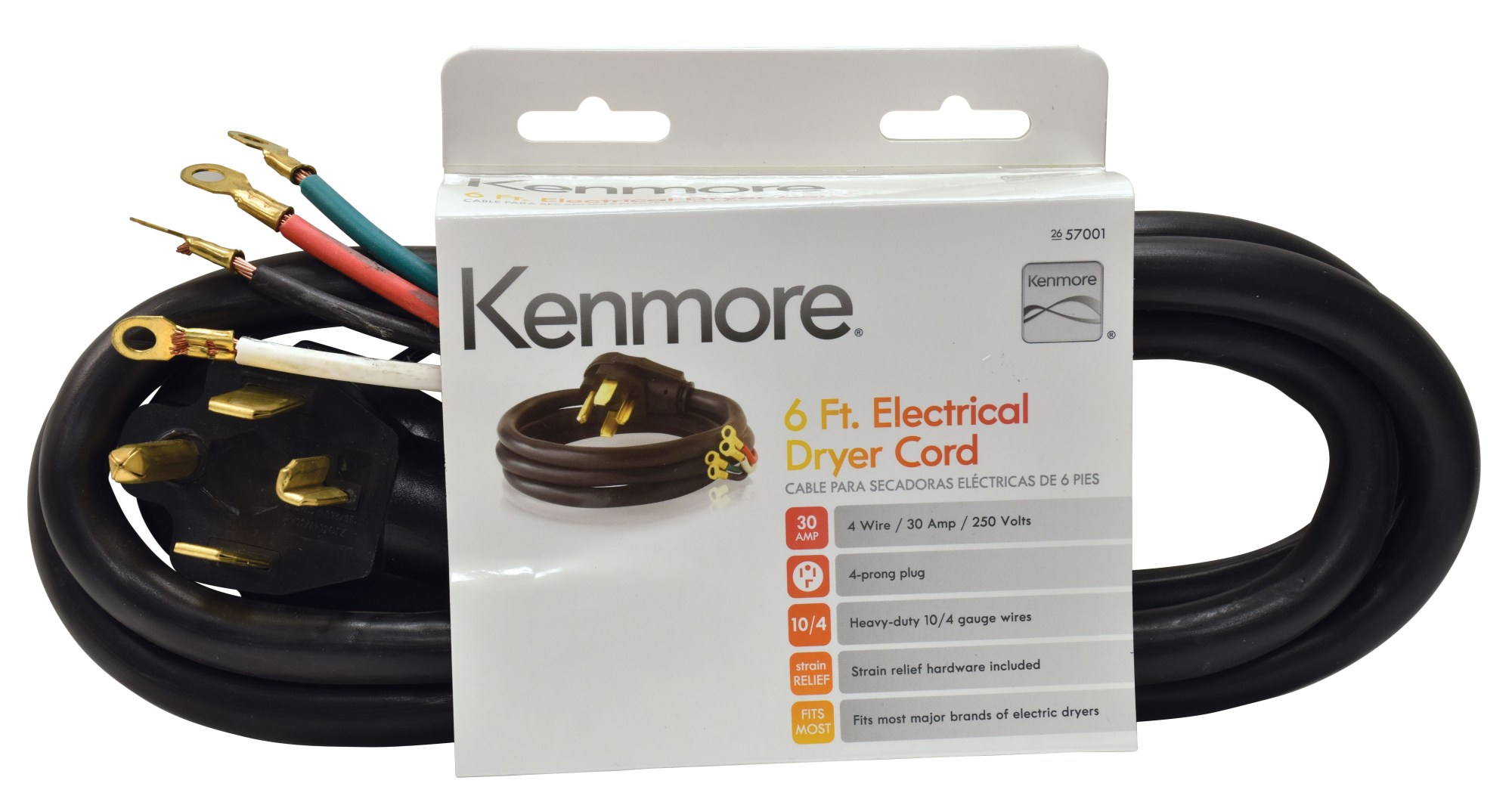 hight resolution of kenmore 99921 57001 4 prong 6 round dryer cord black sears outlet