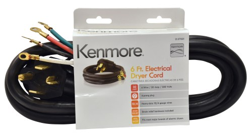 small resolution of kenmore 99921 57001 4 prong 6 round dryer cord black sears outlet