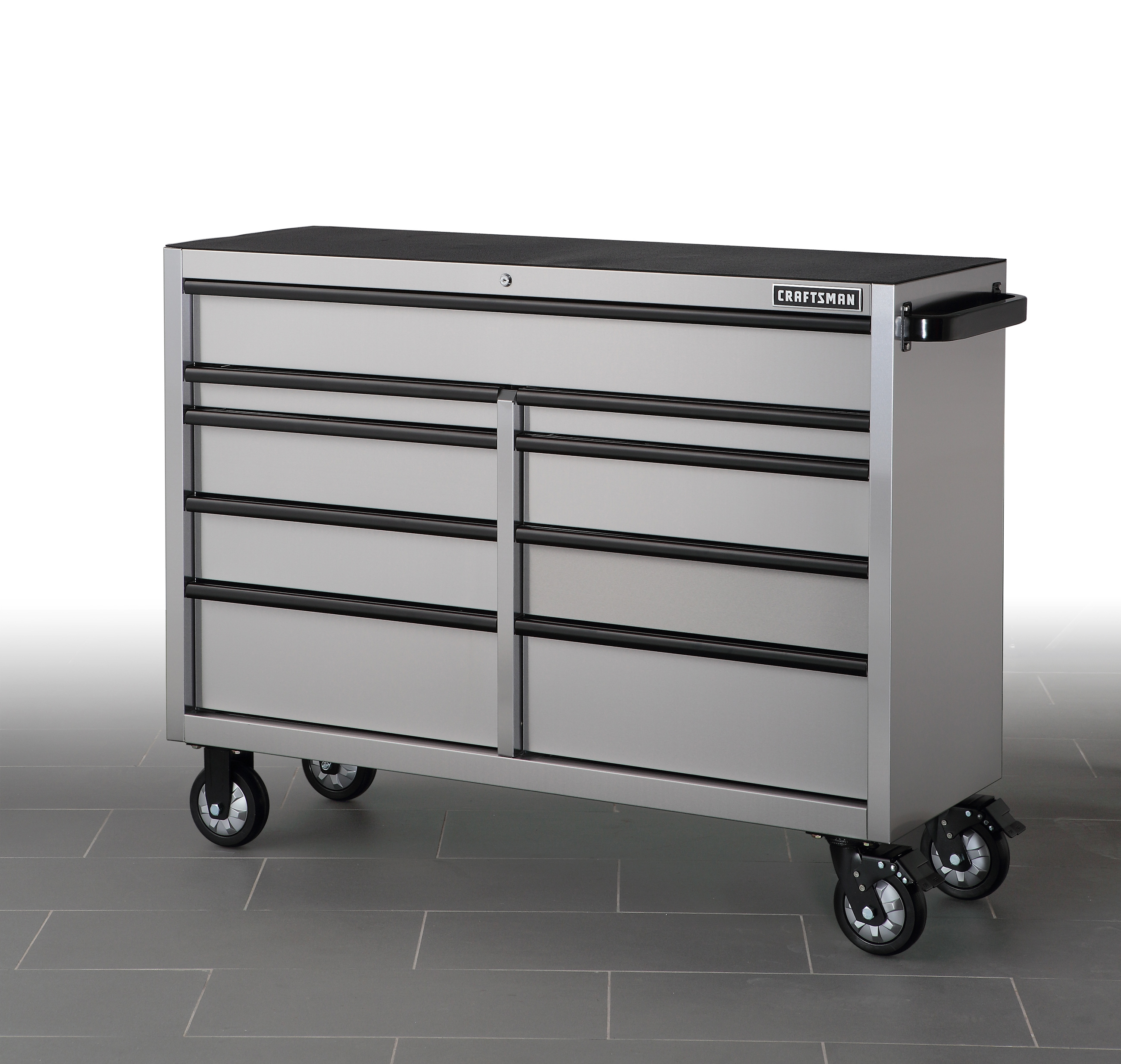 stainless steel kitchen cart with drawers motionsense faucet craftsman 53 quot 9 drawer rolling
