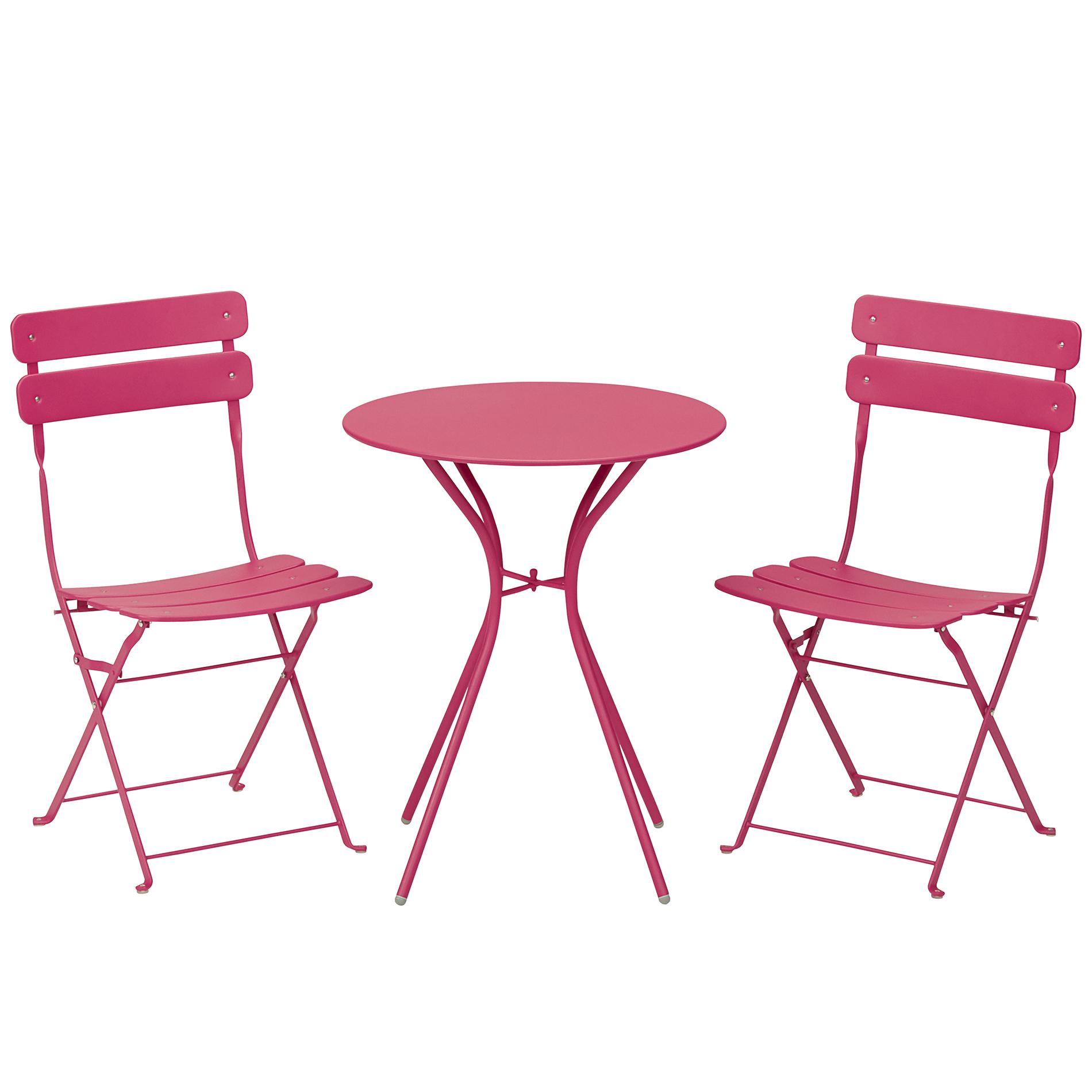 bistro table and chairs kmart veranda swing chair essential garden 3 piece folding set pink