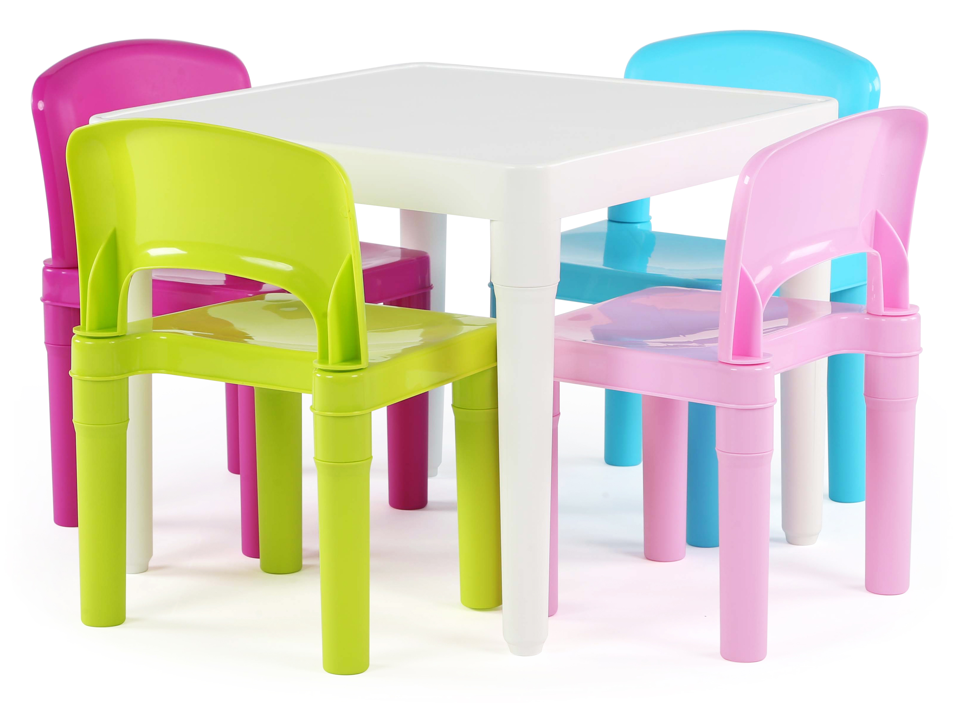 Tot Tutors Kids Plastic Table and 4 Chairs Set Bright Colors