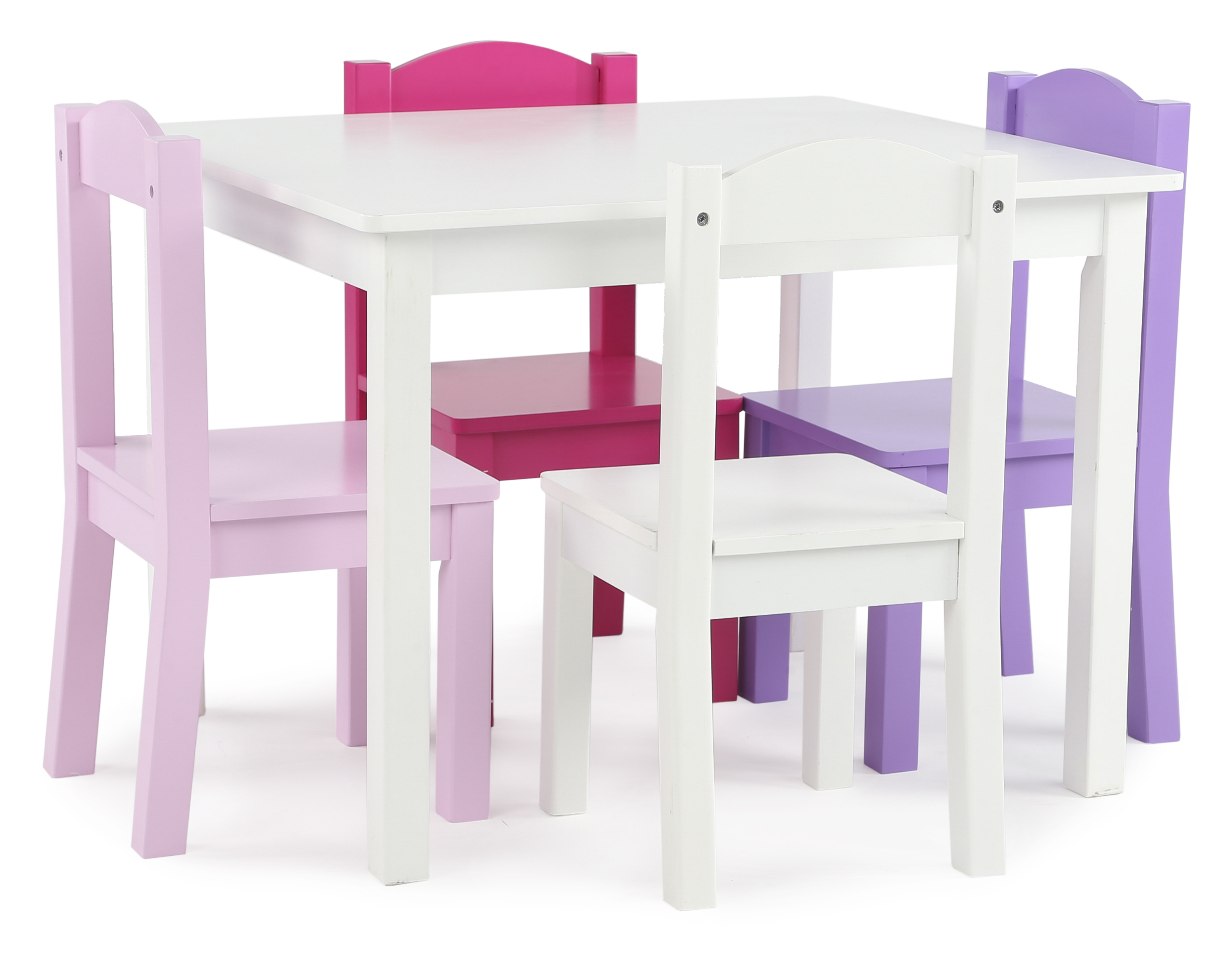 Kids Wood Table And Chairs Tot Tutors Kids Wood Table And 4 Chairs Set White Pink