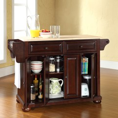 Crosley Kitchen Island Tile Refinishing Furniture Alexandria Hardwood Vintage Mahogany Brown