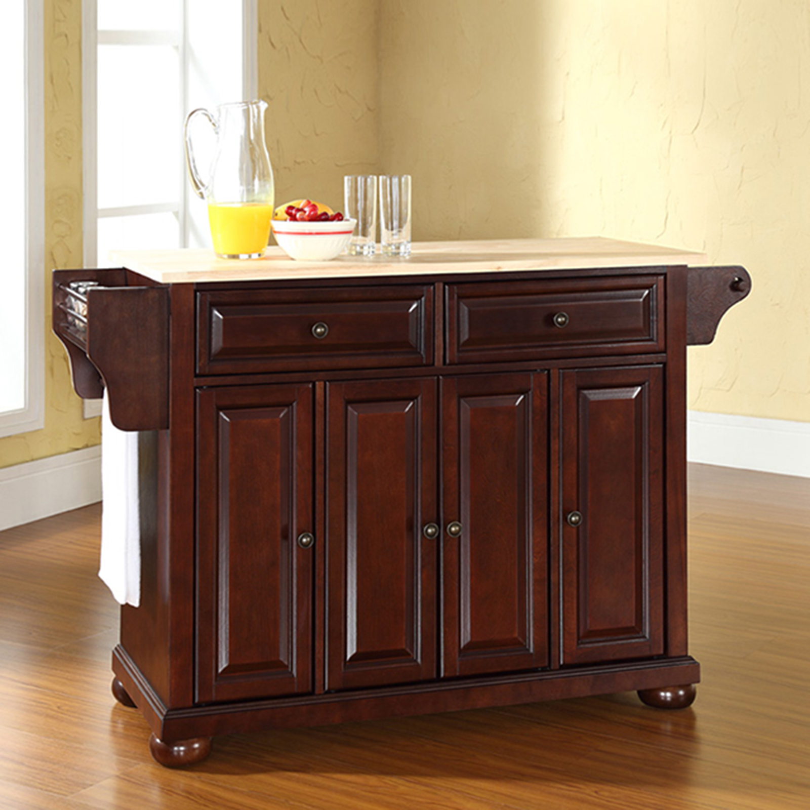 crosley kitchen island waterstone faucets furniture alexandria hardwood vintage mahogany brown