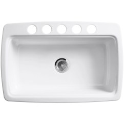 Kohler Cast Iron Kitchen Sink Kraus Faucets Sinks Sears K 5864 5u 0 Cape Dory Undercounter White