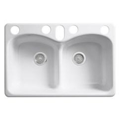 Cast Iron Kitchen Sinks Table Centerpiece Ideas Sears Kohler K 6626 6u 0 Langlade Smart Divide Undercounter Sink White
