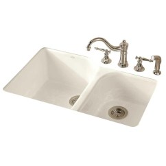 60 40 Kitchen Sink Island For Small Kohler Executive Chef 33 Sears Marketplace Cast Iron Undermount Double Bowl White