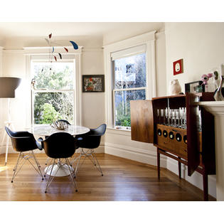 black dining room chairs with chrome legs ikea nils chair cover set of two 2 eames replica armchair steel eiffel homelala