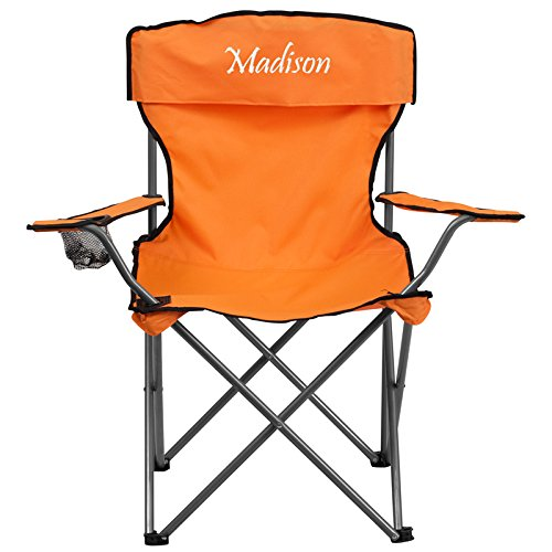 folding chair embroidered kendrick sleeper and a half flash furniture ty1410 or emb gg camping with drink holder in orange