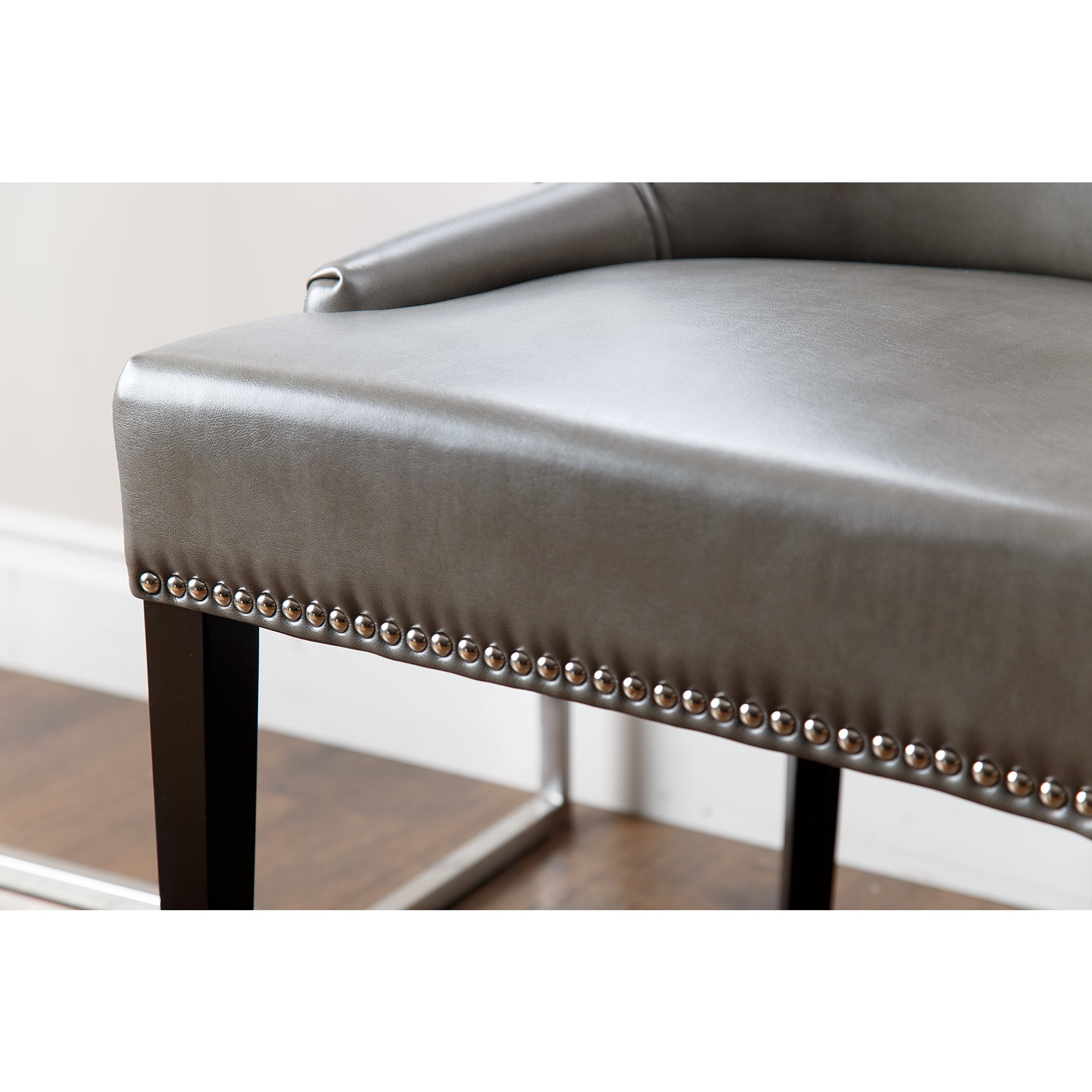 Leather Dining Chairs With Nailheads Abbyson Newport Grey Leather Nailhead Trim Dining Chair
