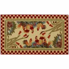 Non Skid Kitchen Rugs St Charles Steel Cabinets Rubber Back Rooster Checkered Red Door Mat Rug