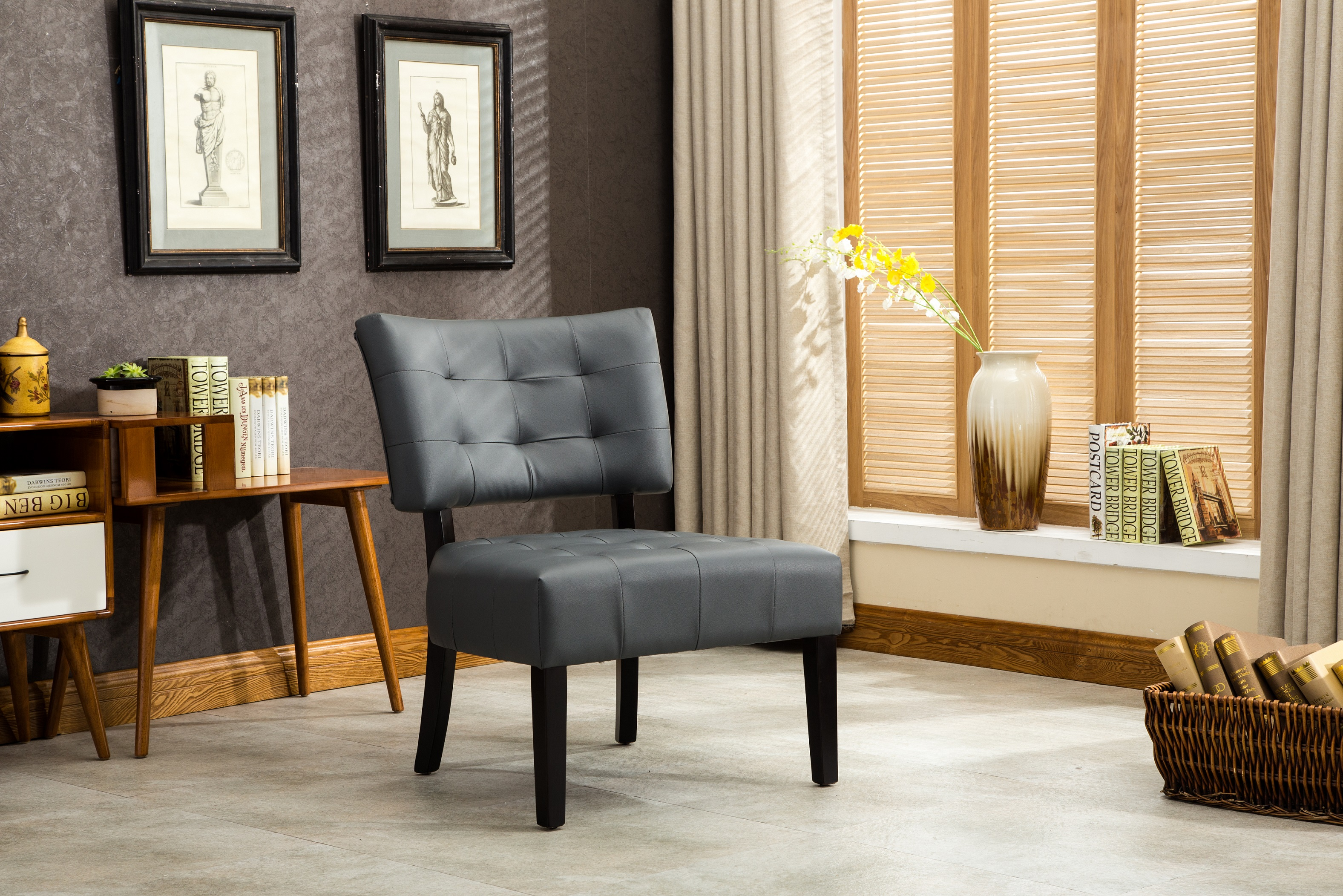 roundhill furniture wonda bonded leather accent chair with wood arms white spandex covers sash living room furnishings sears furnituremaxx ac002gy bally blended grey tufted oversized seating