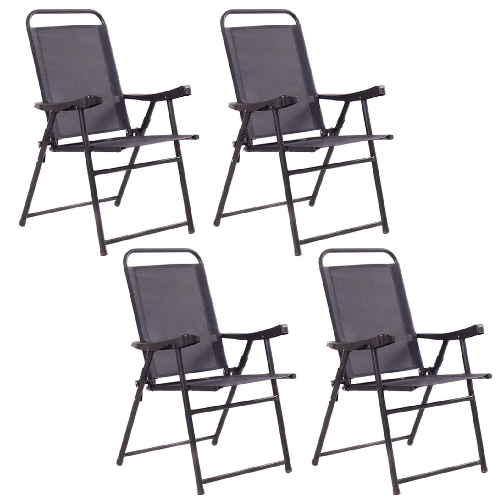 black patio chairs red office chair without wheels outdoor seating sears costway set of 4 folding sling furniture camping pool beach with armrest