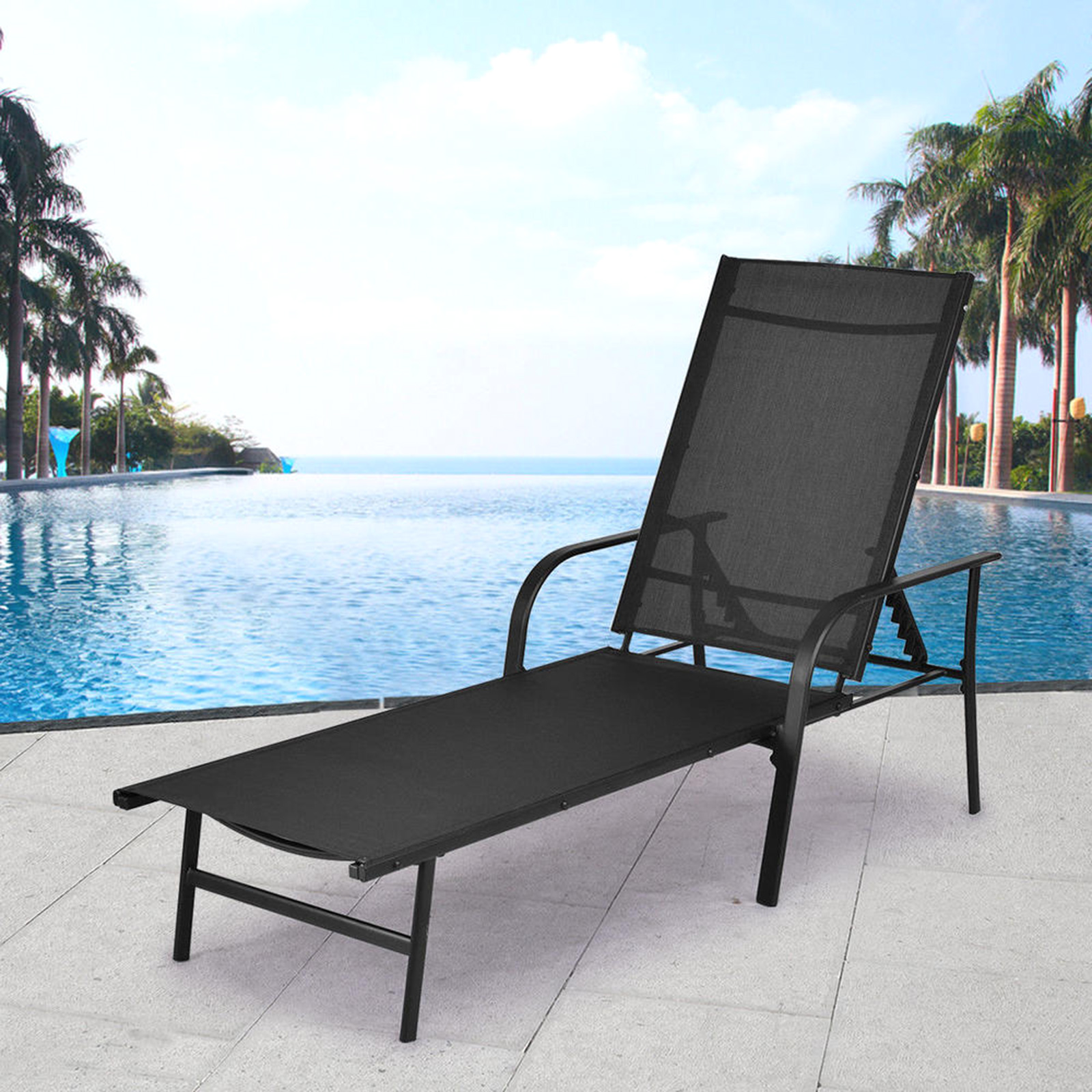 lounge chair patio covers hong kong chaise chairs sears costway pool recliner furniture with adjustable back new