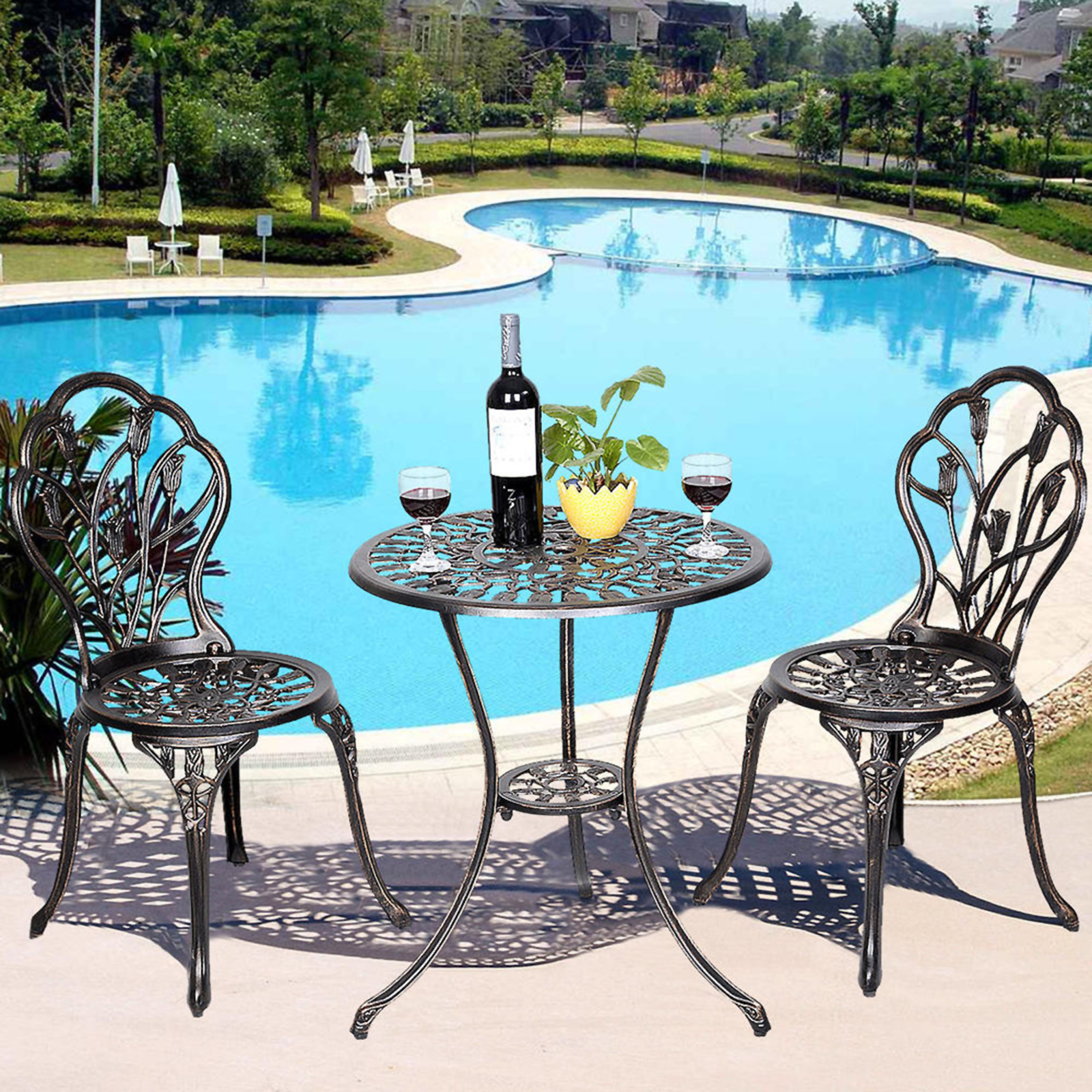 patio bistro table and chairs chair covers for sale cape town outdoor sets sears goplus furniture cast aluminum tulip design set in antique copper
