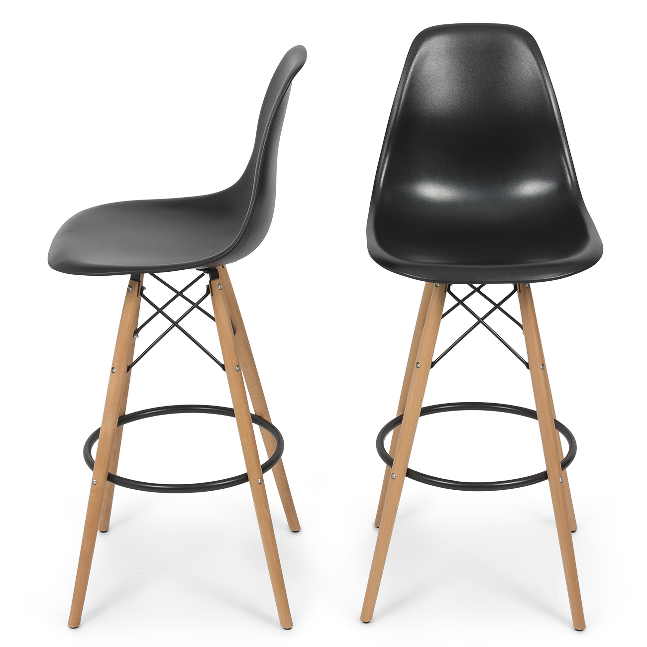 high chair that attaches to counter patio furniture rocking cushions belleze set of 2 bar modern stool style dsw height natural wood legs white